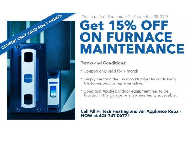 15% OFF on Furnace Maintenance!